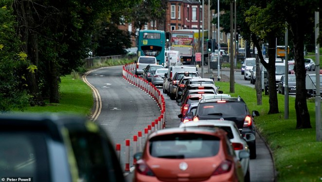 Similarly, the pop-up cycle lane on West Derby Road, in Liverpool, was empty today while cars queued up bumper-to-bumper in traffic
