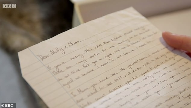 Camellia reads the letter written by Jay 'to Milly and Mum'. Part of the letter reads: 'Mum, you have been the greatest Mum'. Jay died in hospital on July 5, two days after his body was found