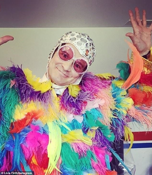 Colin Firth's estranged wife marked his 60th birthday on Thursday by sharing a flamboyant snap of the actor dressed as Elton John