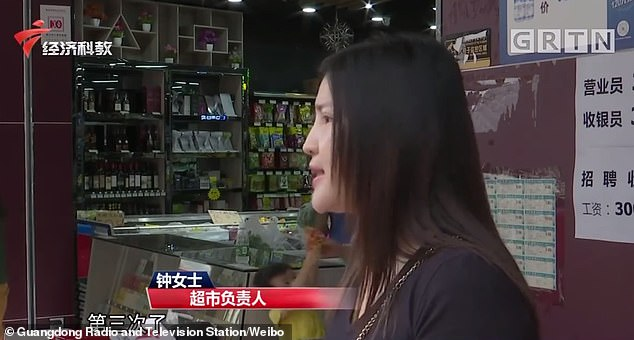 Ms Zhong (pictured), the store manager, said she had no way but to punish the woman like this