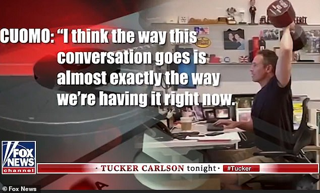 The conversation hears Chris Cuomo coaching Cohen through a hypothetical interview. Pictured: Fox News broadcasts a clip from the recording on the Tucker Carlson show