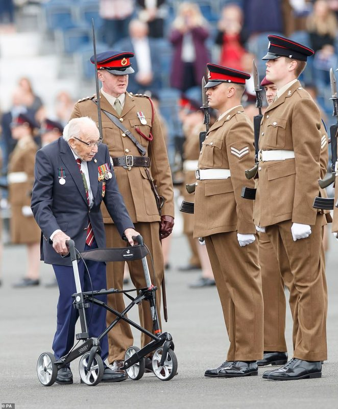 Sir Tom wore all his military medals as he greeted the junior soldiers during their passing out parade earlier today. He was knighted by the Queen during a unique open-air ceremony at Windsor Castle in July