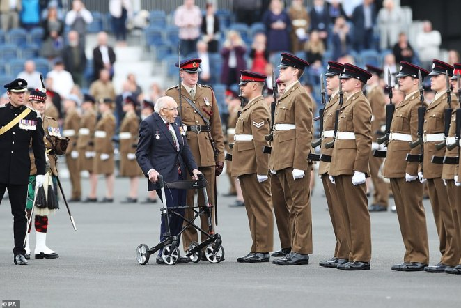 Some of the soldiers failed to keep a straight face as Sir Tom approached their group. It resulted in some heart-warming moments as their smiles gave away their excitement at his presence