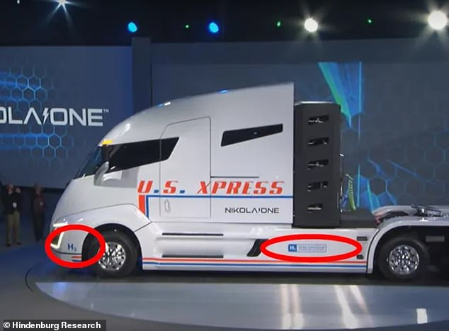 Gears and motors were missing, and while the words 'H2 Zero Emission Hydrogen Electric' were emblazoned on the vehicle, there was no fuel cell on board