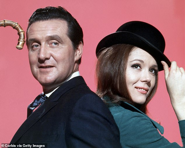Dame Diana Rigg was last night hailed as a 'luminous talent' after her death yesterday at the age of 82. Pictured: Rigg with Patrick McNee in The Avengers