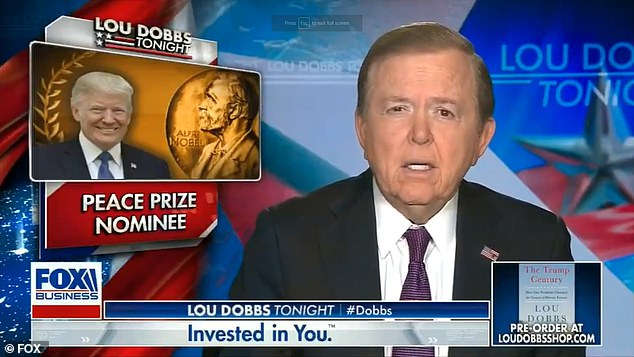 Trump said he watched Lou Dobbs Wednesday night, when Dobbs said on air: 'President Trump today had a great day, a day that any president could only dream of'