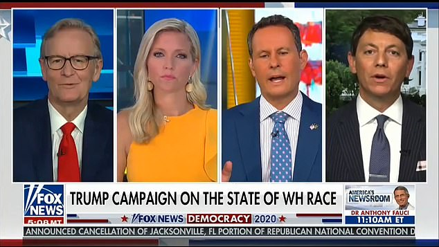 After presumably getting some sleep, Trump tuned into Fox & Friends Thursday morning, he said. His campaign spokesman Hogan Gidley was a guest