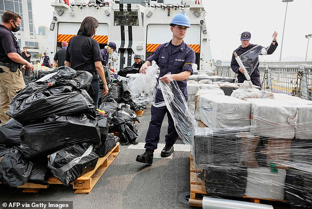 The drugs, which were seized in international waters of the Eastern Pacific Ocean have been estimated by the Coast Guard to be worth around $390 million