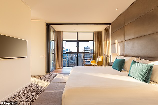 Pictured: The master bedroom of a two-bedroom penthouse at Fraser Suites in Sydney's CBD