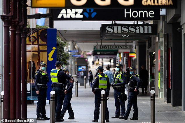 Prime Minister Daniel Andrews has said the strict 8:00 p.m. to 5:00 a.m. curfew could be extended beyond the end of September (police photo at Bourke Street Mall this week)