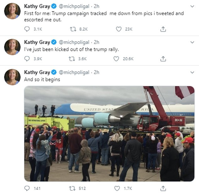 'I've just been kicked out of the trump rally,' Gray wrote. That tweet was then followed by another which reads: 'First for me: Trump campaign tracked me down from pics i tweeted and escorted me out'