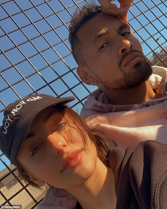 Nick Kyrgios (pictured with girlfriend Chiara Passari) has ignited a war of words with another bitter tennis rival