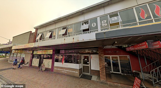 Olga attendedclasses at Bikram Yoga North West Sydney (pictured) for five years before her husband began. Yoga teacher Oliver Campbell said Edwards would 'look around the room when everyone had their legs spread out', prompting him to ban the 67-year-old from the class