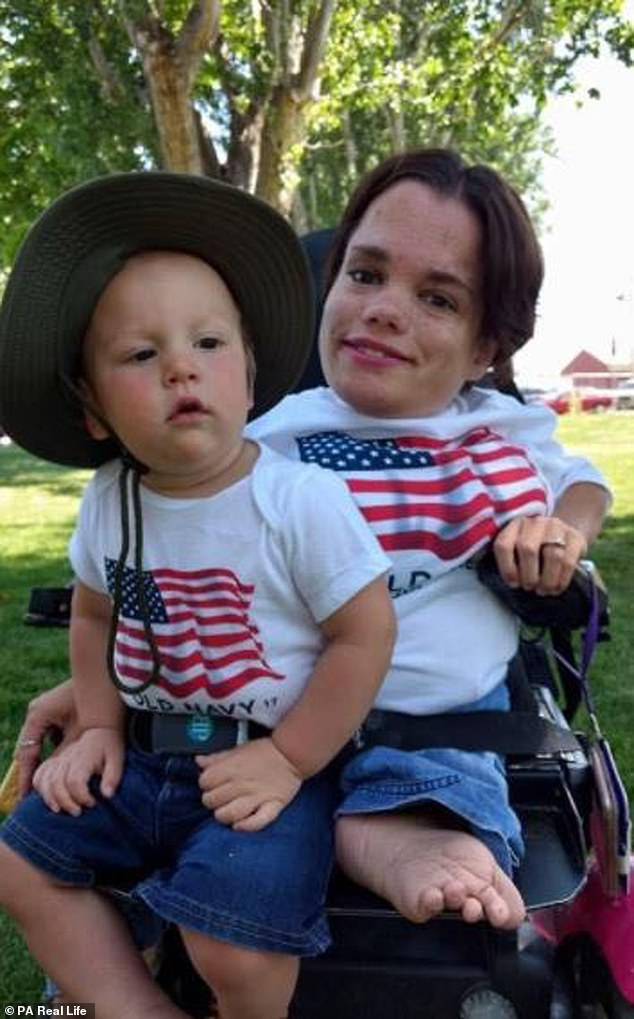 A 2ft10in woman warned by doctors that having a baby could 'crush her from the inside out' has defied the odds to welcome a son with her 6ft1in husband. Trisha Taylor, 31, from Boise, Idaho, was diagnosed with osteogenesis imperfecta (OI), as a baby when she was born with 150 fractured bones. She is pictured now with her son Maven