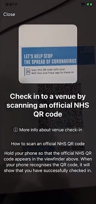 People will be able to 'check in' o places they visit using QR codes.
