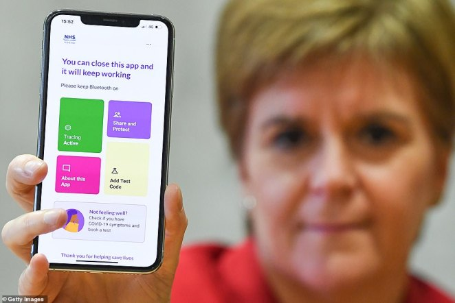 Nicola Sturgeon's government yesterday launched the 'Protect Scotland' contact tracing app, beating Enlgnad