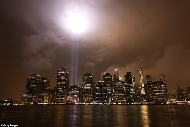 In New York, the annual 'Tribute in Light' was almost cancelled after the 9/11 Memorial and Museum said there was a virus risk to the installation crew. The tribute shone above the Manhattan skyline last night