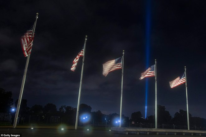 Light tributes to September 11 victims shone across Washington as America begins commemorating the 19th anniversary of the terror attacks