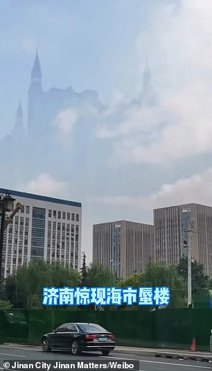 Trending footage purports to show the image of an ancient European-style complex with three pointy turrets towering over three office blocks