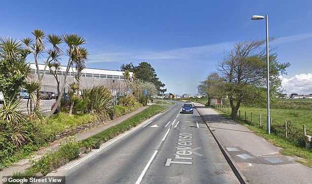 Police were called to Trevenson Road, Newquay (pictured) at around 10.20 am today
