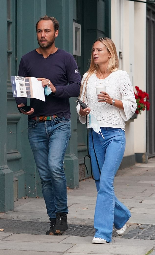 House hunting: James Middleton andfiancée Alizée Thevenetwere seen with a brochure for a one-bedroom home in south-west London