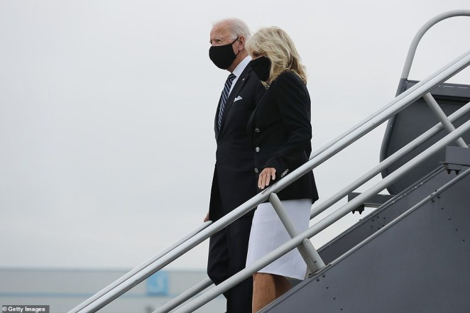 While they are in Pennsylvania, Democratic nominee Joe Biden and Jill Biden (pictured) spent the morning in New York City for the memorial ceremony at the National September 11 Memorial Plaza, the site where the twin towers of the World Trade Center fell