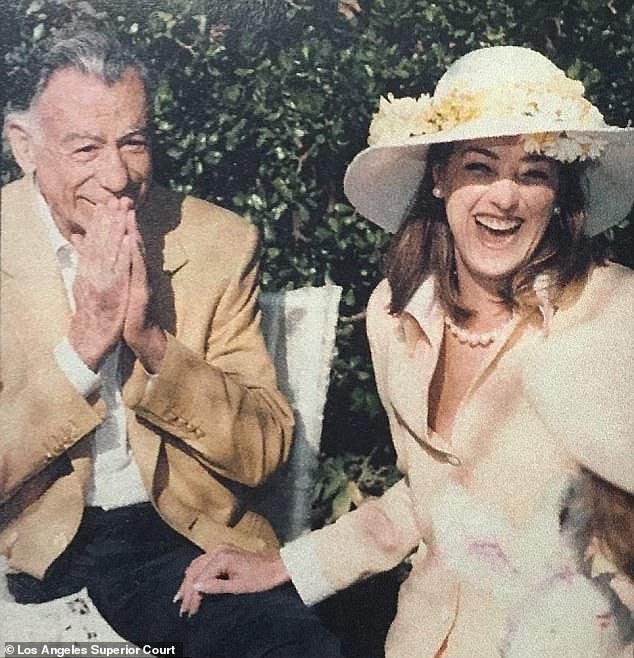 Bing was sensationally revealed as Kira's father in a legal dispute between tennis pro Lisa Bonder and her ex-husband, billionaire Kirk Kerkorian (pictured together), who was led to believe Kira was his daughter. A private investigator dug dental floss out of Bing's trash to get a DNA sample for the paternity test