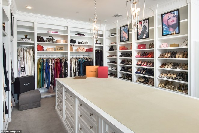 The home comes complete with two large custom closets with an oversize island in the middle for Kathy Griffin's massive shoe collection and color coordinated ensemble