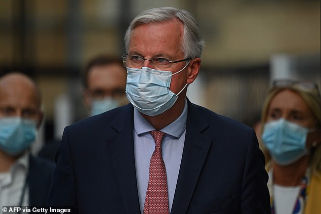 Michel Barnier, pictured in London, has hinted the EU could ban UK food exports into the bloc if the two sides fail to strike a trade deal