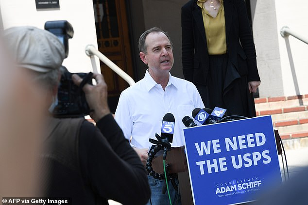 Representative Adam Schiff (D-Burbank) delivers a press conference outside a US Post Office in Burbank, California to discuss the negative impact of cuts in postal services, August 18. He accused President Donald Trump of 'deliberately sabotaging' the service ahead of the election