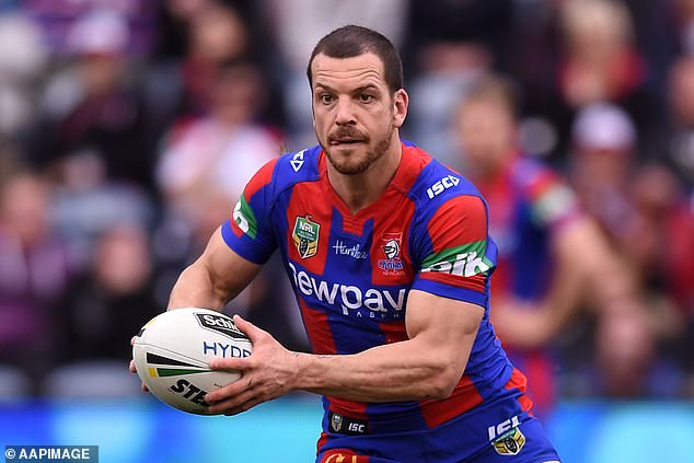 Former Newcastle Knights star Jarrod Mullen (pictured)was one line away from being completely deaf in December 2018 after inhaling so much cocaine he damaged his cochlear nerve - connecting the ear to the brain