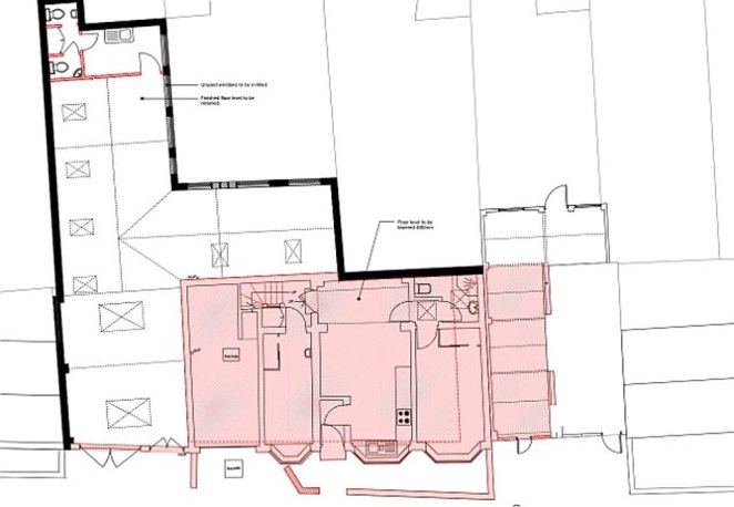 The Grand Tour host, 56, bulldozed two cottages on the existing site in west London to build a space big enough to house his vast motorbike and luxury car collection. Pictured: Plans outlined in red show the area of May's property that was bulldozed before the rebuilding job began