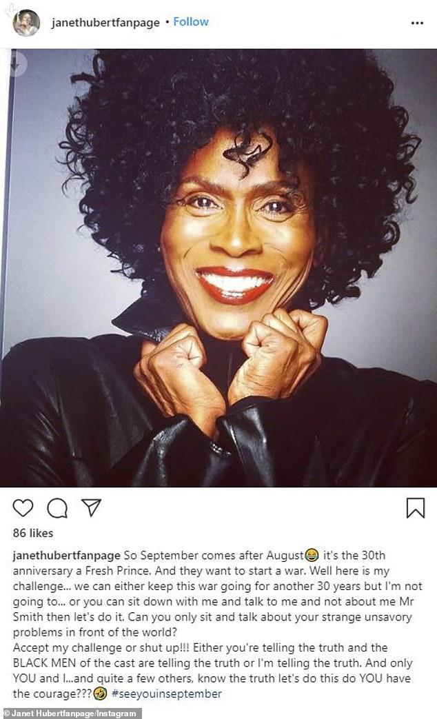 'Bueno, aquí está mi desafío': la charla de Will con Janet fue grabada en septiembre después de que ella publicara en su página de fans de Instagram instándolo a discutir sus problemas con ella cara a cara.