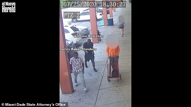 Surveillance footage released Thursday showed the pair at the flea market on Northwest 27th Avenue, as well as their car pulling out behind the family as they left