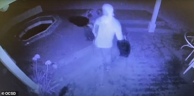 The culprit is seen on camera later leaving the property carrying several items