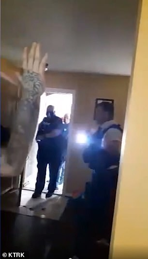 Soon after they began filming, the deputies broke down the door with a battering ram