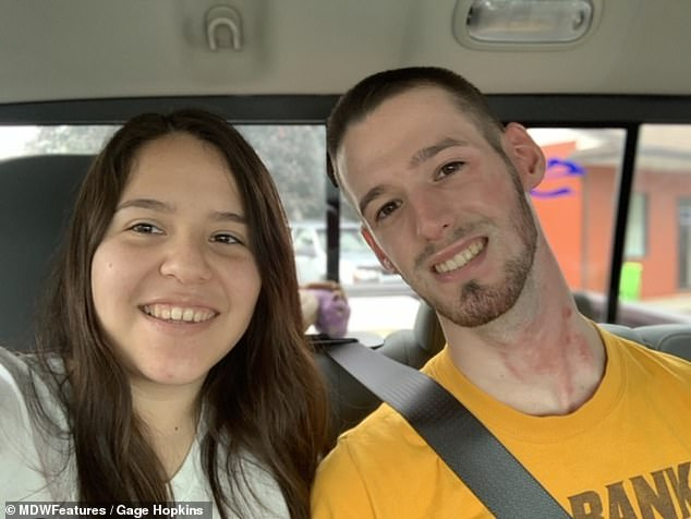 Support: Gage is now out of the hospital and recovering at home with his girlfriend and his parents