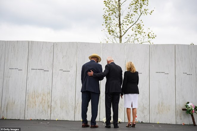 Unlike the president, Biden did not deliver a speech at the memorial. The presidential candidate spoke with relatives of victims who lost their lives in the attack