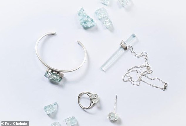 Pictured: pieces of the 'Wear Their Name' jewelry featured on the Charleston couple's website, Shan Shui