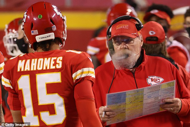 Andy Reid said it was 'brutal' to deal with a foggy face shield throughout Monday's opener