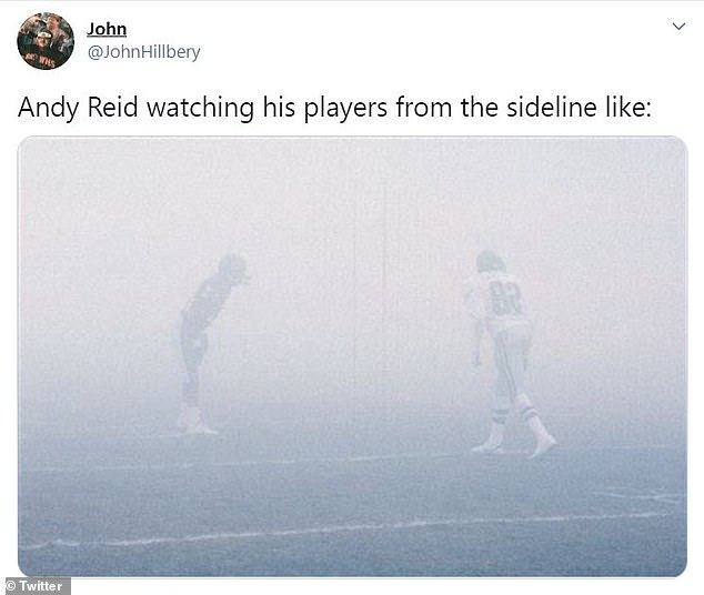 Another Twitter user referenced the famed 'Fog Bowl,' when the Chicago Bears beat the visiting Philadelphia Eagles in a Divisional Round playoff game amid a blinding fog