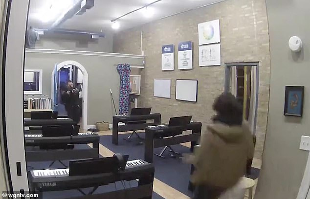 The officer encountered 15-year-old school employee Rylan Wilder, pictured in a brown coat and apparently shot him