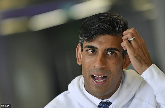 Britain's Chancellor Rishi Sunak talks as he attends a speed mentoring session for young people in Canary Wharf, London, 2 September, 2020