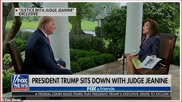 President Donald Trump once again alleged without evidence that rival Joe Biden was on drugs – telling a Fox News interviewer Jeanine Pirro: 'that's what I hear'