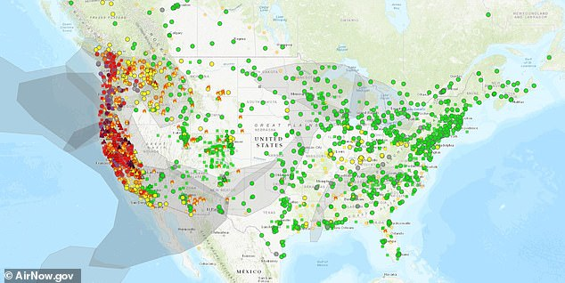An AirNow map indicating air quality across the US on September 11, 2020. Green dots represent 'good' air levels, while red, orange and maroon indicate increasing levels of air pollution