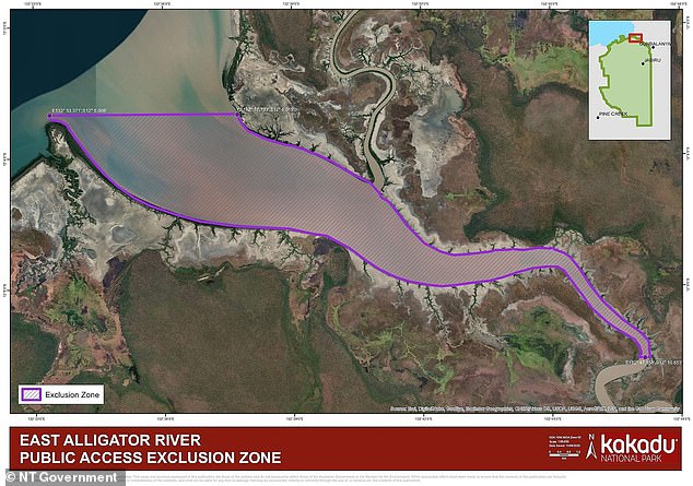 An exclusion zone (pictured) to stop boats entering has now been put in place from the mouth of the East Alligator River to a point approximately 30km upstream