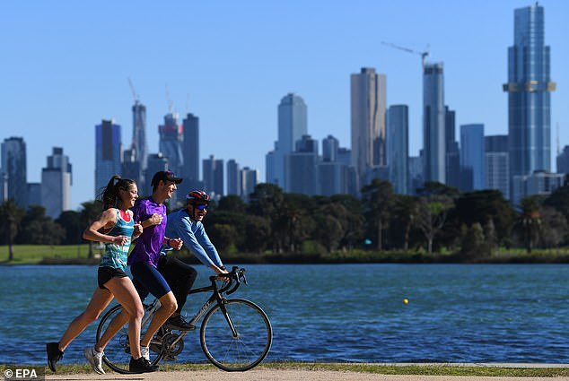 Victoria has recorded 37 new coronavirus cases and six deaths. Pictured: Melburnians exercise on Friday