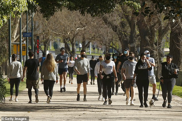The march is expected to kick off at 11am on Saturday at Melbourne's Tan walking track (pictured people walking the Tan last week)