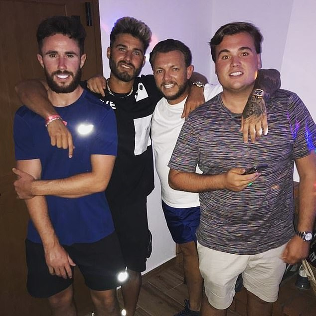 Migas is pictured with his friends while on holiday in Ibiza in August this year. Bolton MP Chris Green confirmed that one infected holidaymaker is thought to be behind the rise in infections in Bolton