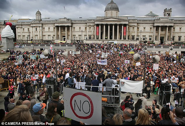 Thousands of people, including many conspiracy theorists, met at the Unite For Freedom rally and march from Trafalgar Square to Downing Street to protest against coronavirus measures last month